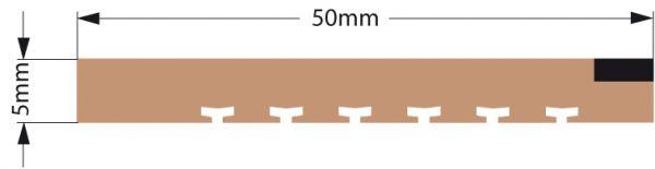 DK Teakleisten Kanten Panel eckig m. Fugeneffekt 10x50 mm